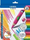 10 x LYRA 'MY STYLE' COLOURING PENCILS + SHARPENER + PERSONALISE WITH STICKERS